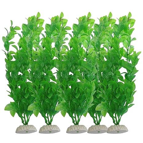BEETEST 5Pcs Planta Plástico Decoración para Acuario Pecera verde Artificial plástico plantas acuáticas peces tanque acuario