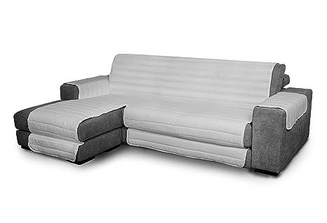Italian Bed Linen Elegant - Funda Protectora para Sofá Chaise Longue Izquierdo, Microfibra, Gris claro, Medida del asiento 290 cm + cubre brazos ...