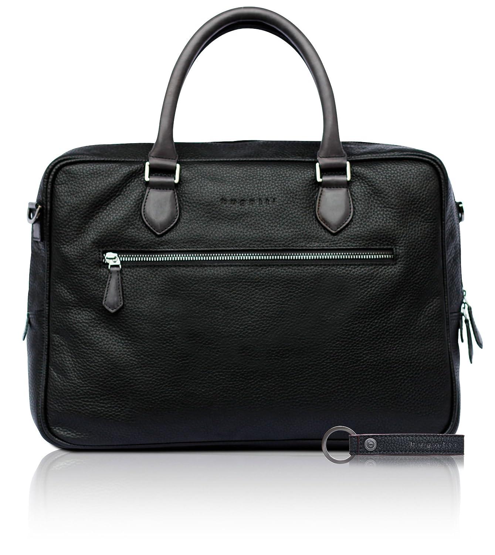 bugatti Citta Aktentasche aus echtem Leder fü r Herren - edle Businesstasche in schwarz 493047