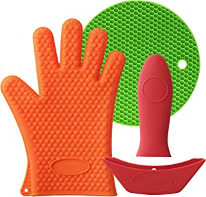 Mirandus Pack of 4 Heat Resistant Silicone Kitchen Tools & Accessories – 1 Oven Glove, 1 Trivet Mat, 1 Pan Handle Cover & 1 Assist Handle Holder for BBQ, Cooking & Baking - Dishwasher Safe