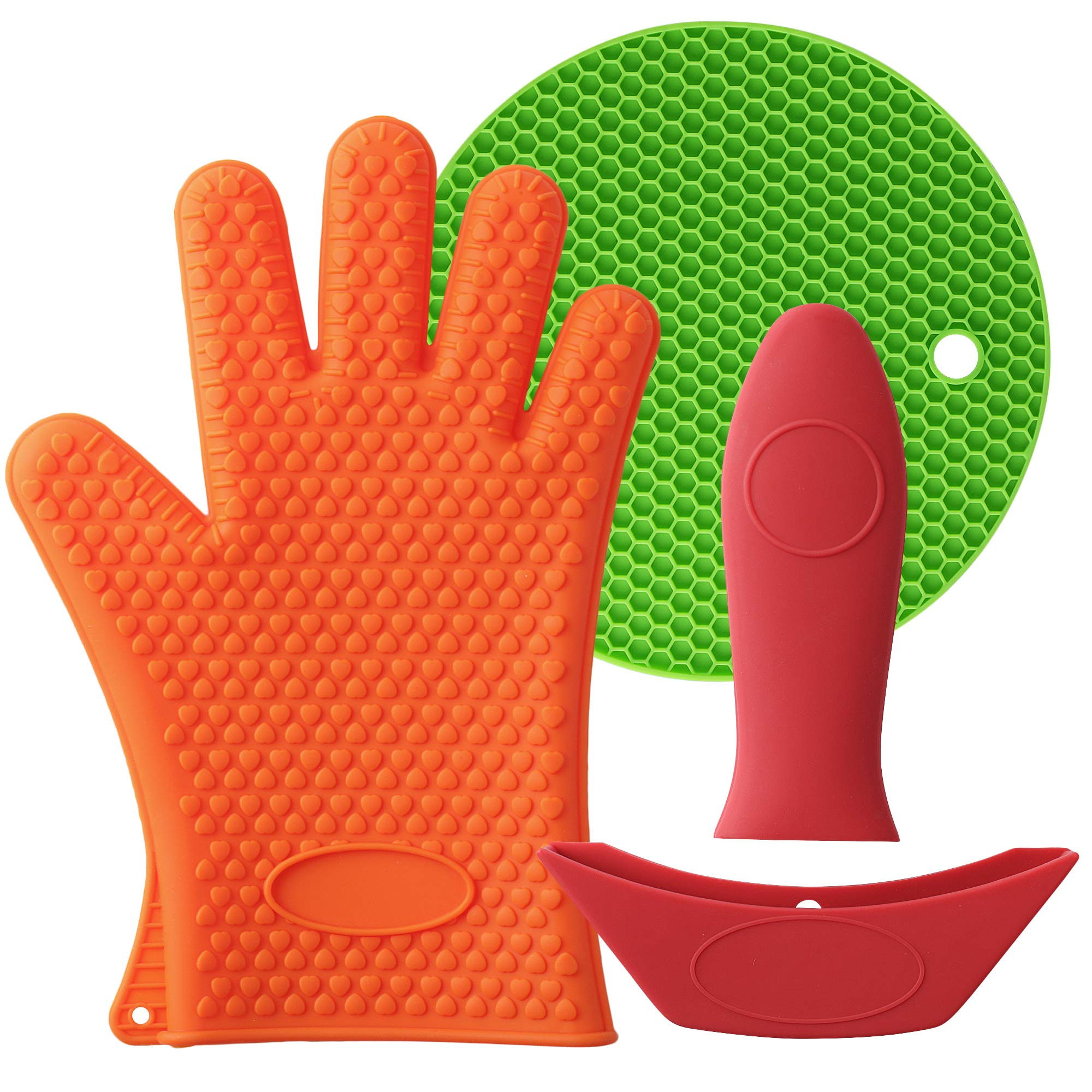 Mirandus Pack of 4 Heat Resistant Silicone Kitchen Tools & Accessories - 1 Oven Glove, 1 Trivet Mat, 1 Pan Handle Cover & 1 Assist Handle Holder for BBQ, Cooking & Baking - Dishwasher Safe