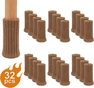 AIRUJIA Chair Leg Socks, 32PCS Knitted Elastic Furniture Socks Chair Leg Floor Protectors, Double Thickness, Fit Square Round Chair Feet with Diameter from 3/4 inch to 1-1/2 inch, Light Brown