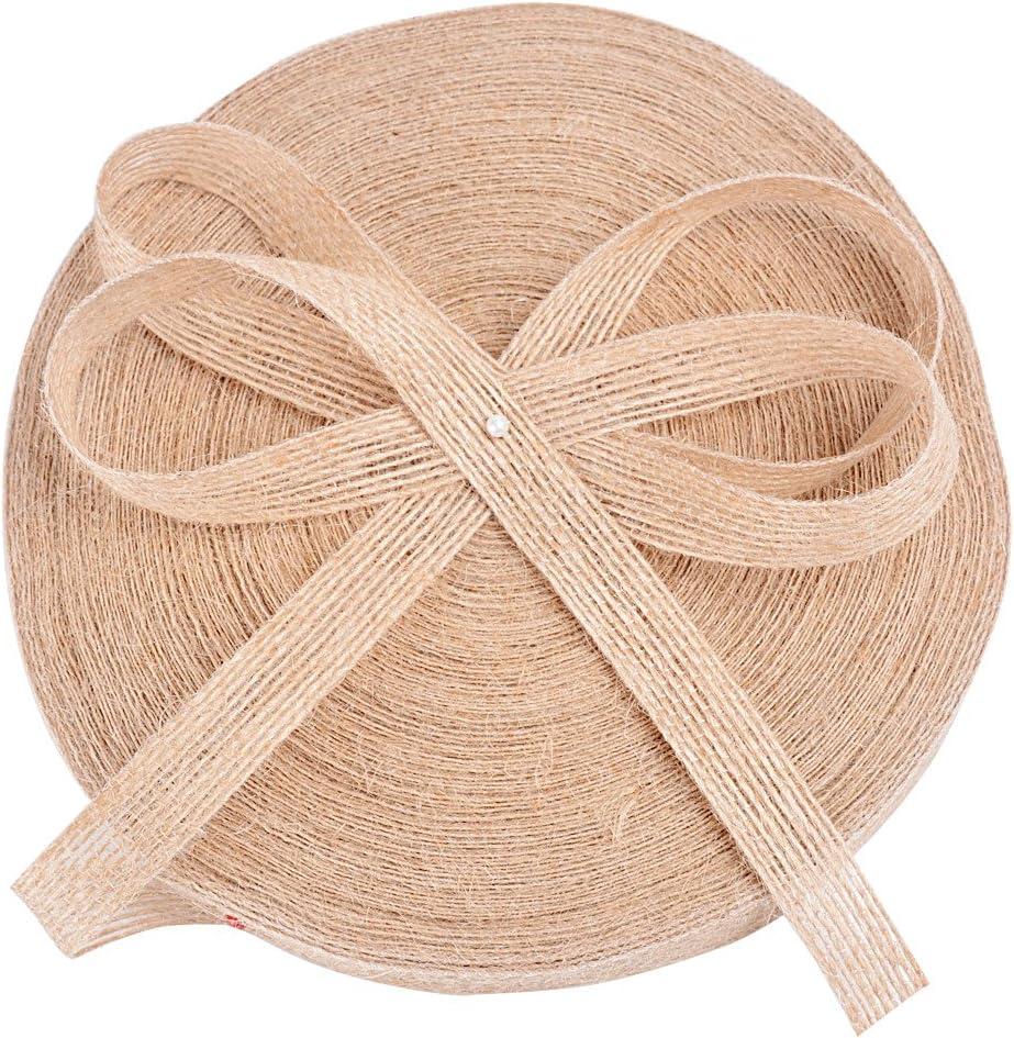50m Cinta Arpillera Yute Natural para Envolver Regalos Navidad Boda Manualidades Artesannia Ancho 1,5cm