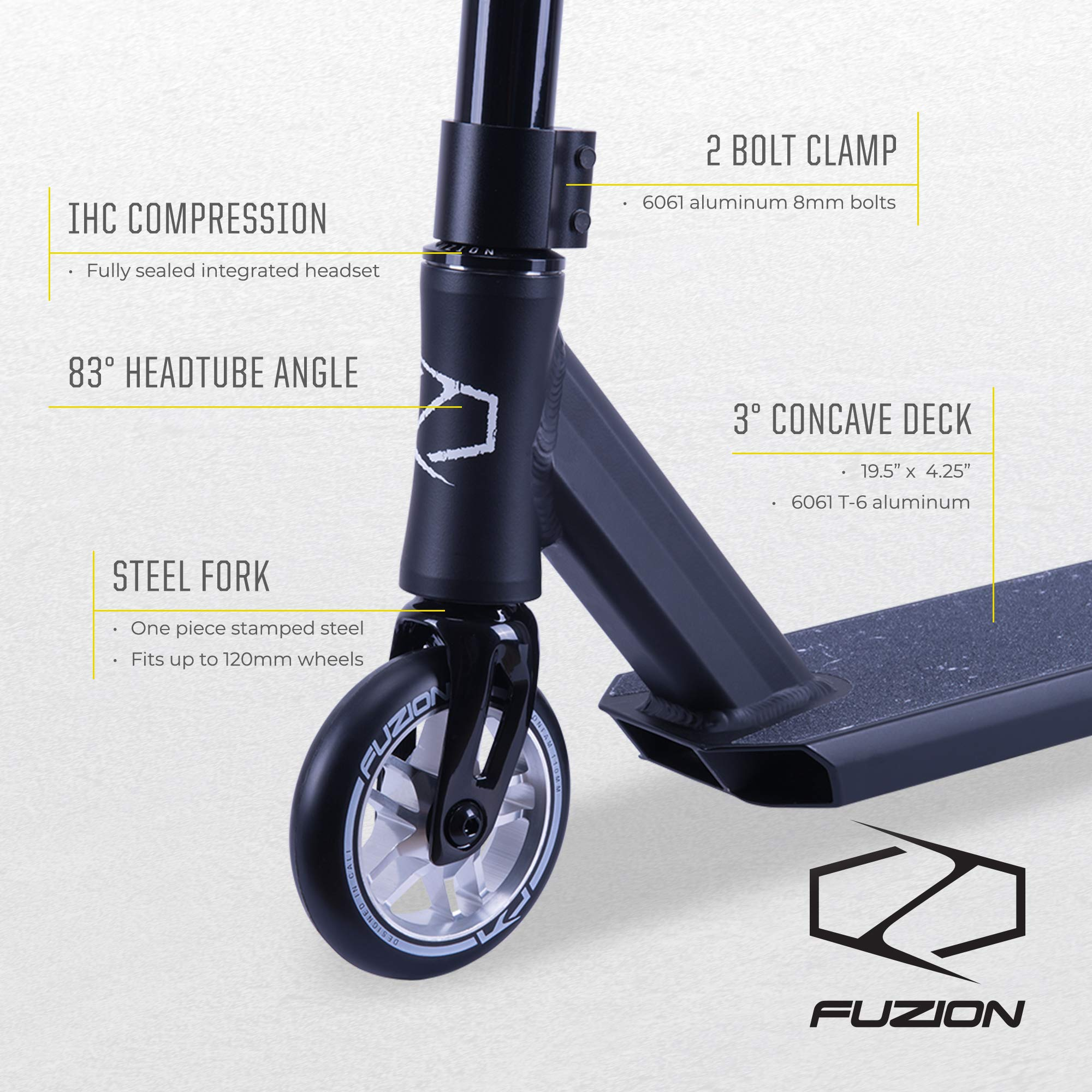 Fuzion Z250 Pro Scooters - Trick Scooter - Intermediate and Beginner Stunt Scooters for Kids 8 Years and Up, Teens and Adults – Durable Freestyle Kick Scooter for Boys and Girls (2019 Pitch Black) by Fuzion (Image #2)