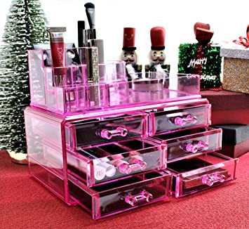 Pink Acrylic Cosmetics Makeup Jewelry Organizer 6 Drawers With 8 Compartments Top Section Idea For