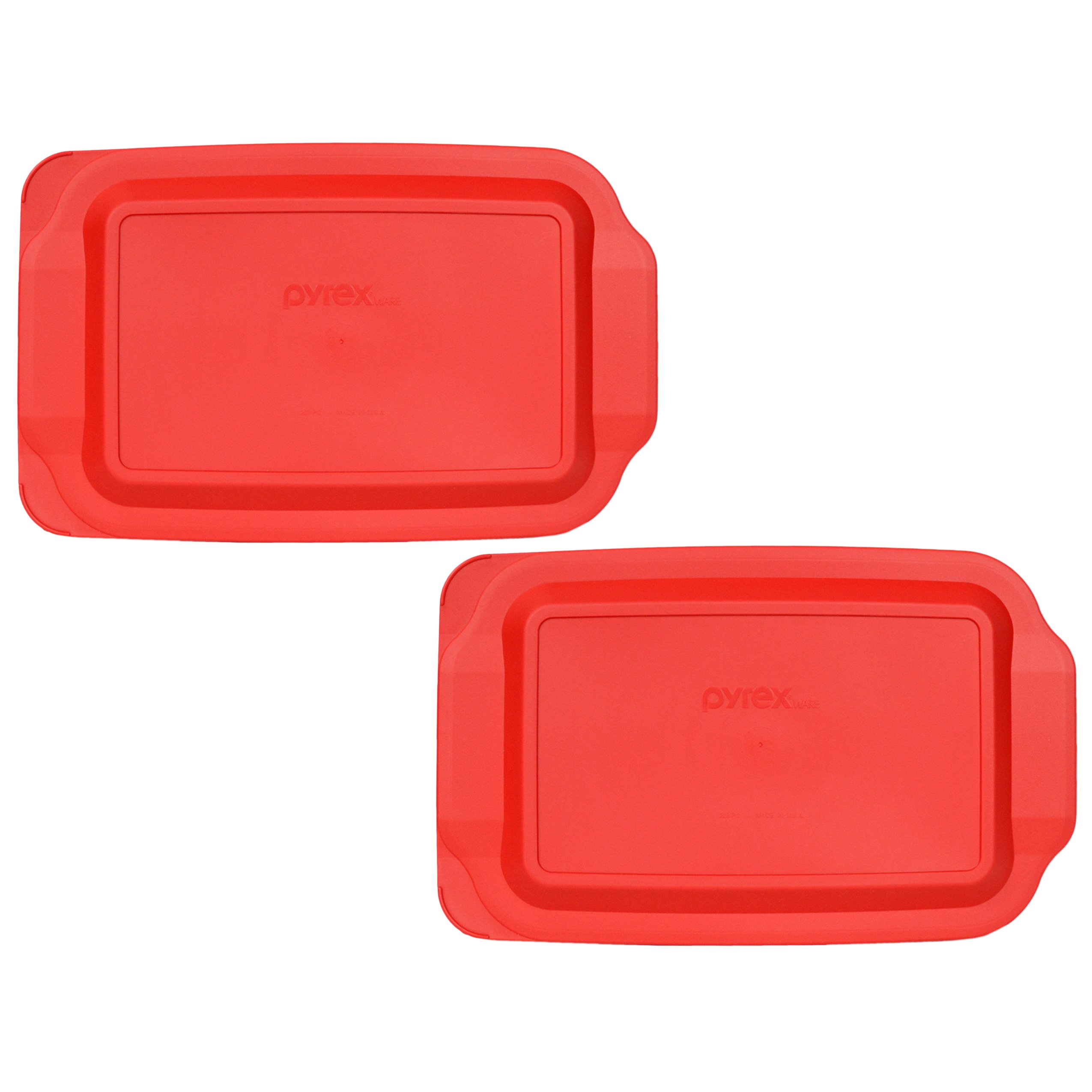 (2) Pyrex 233-PC 3 Quart Red 9'' x 13'' Baking Dish Lids - Will NOT Fit Easy Grab Baking Dish (See Bullets Bellow) by Pyrex