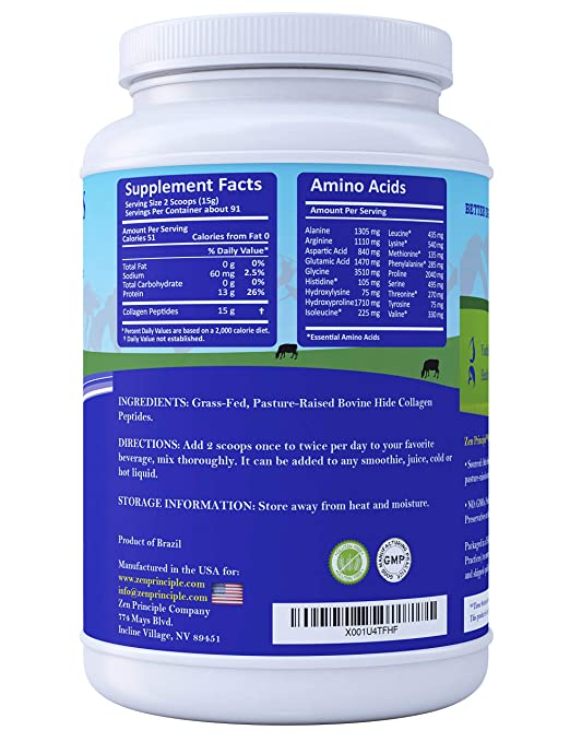 Amazon.com: Extra Large Grass-Fed Collagen Peptides 3 lb. Custom Anti-Aging Hydrolyzed Protein Powder for Healthy Hair, Skin, Joints & Nails.