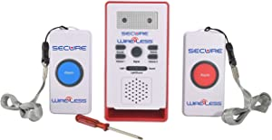 Secure SWCB-2S Wireless Two Patient Call Button and Caregiver Pager Nurse Alert System - 500+ ft Range - Elderly, Disabled, Bedridden Help and Emergency Safety Aid