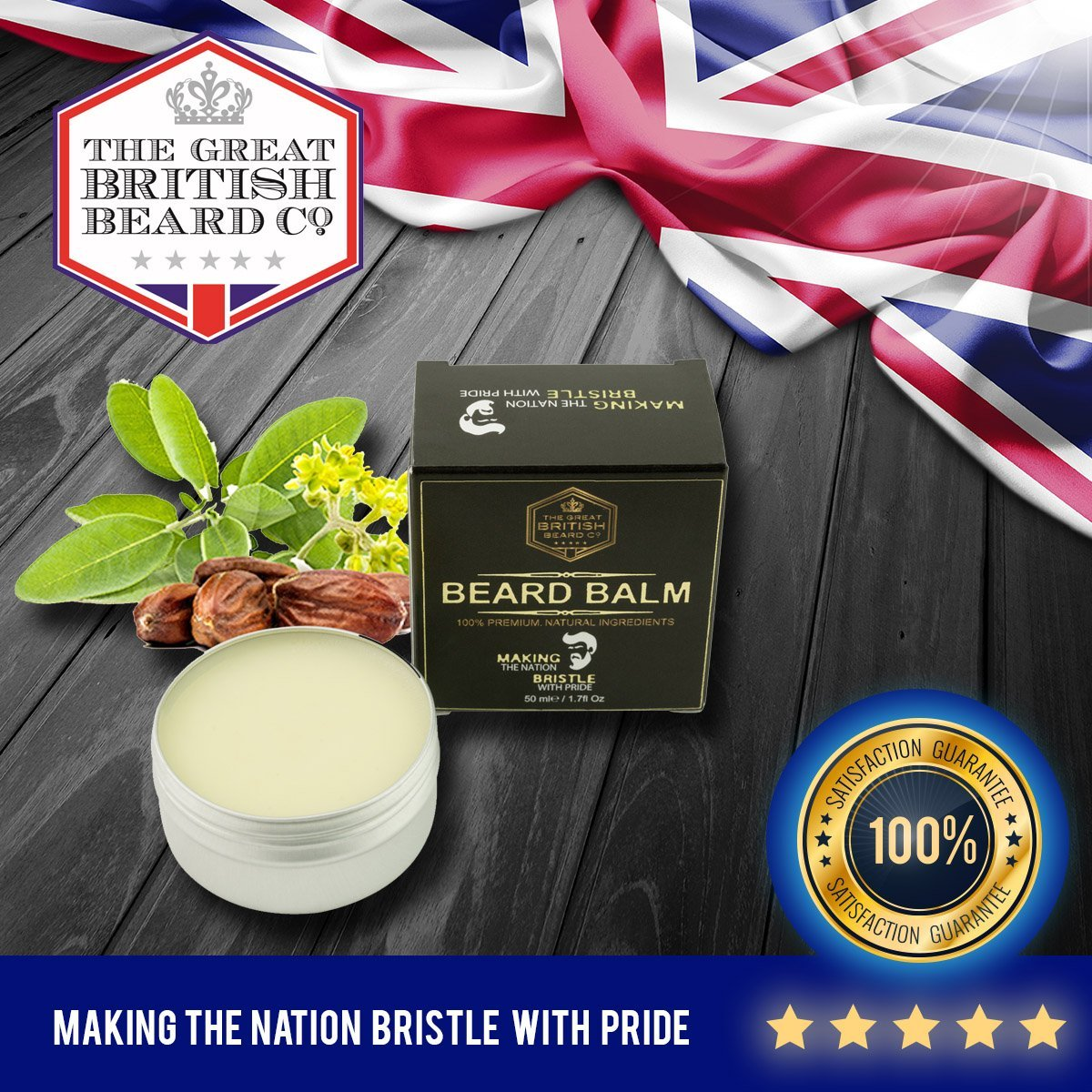 Beard Balm - MADE IN UK | 100% Premium Natural Leave-in Conditioner | Beard Wax for Men - Styling - Non Greasy - Deep Beard Conditioner | Natural Organic Oils and Butters ECONNECT Limited