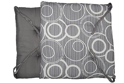 6 cuscini sedie cucina coprisedia imbottiti cerchi con laccetti grigio