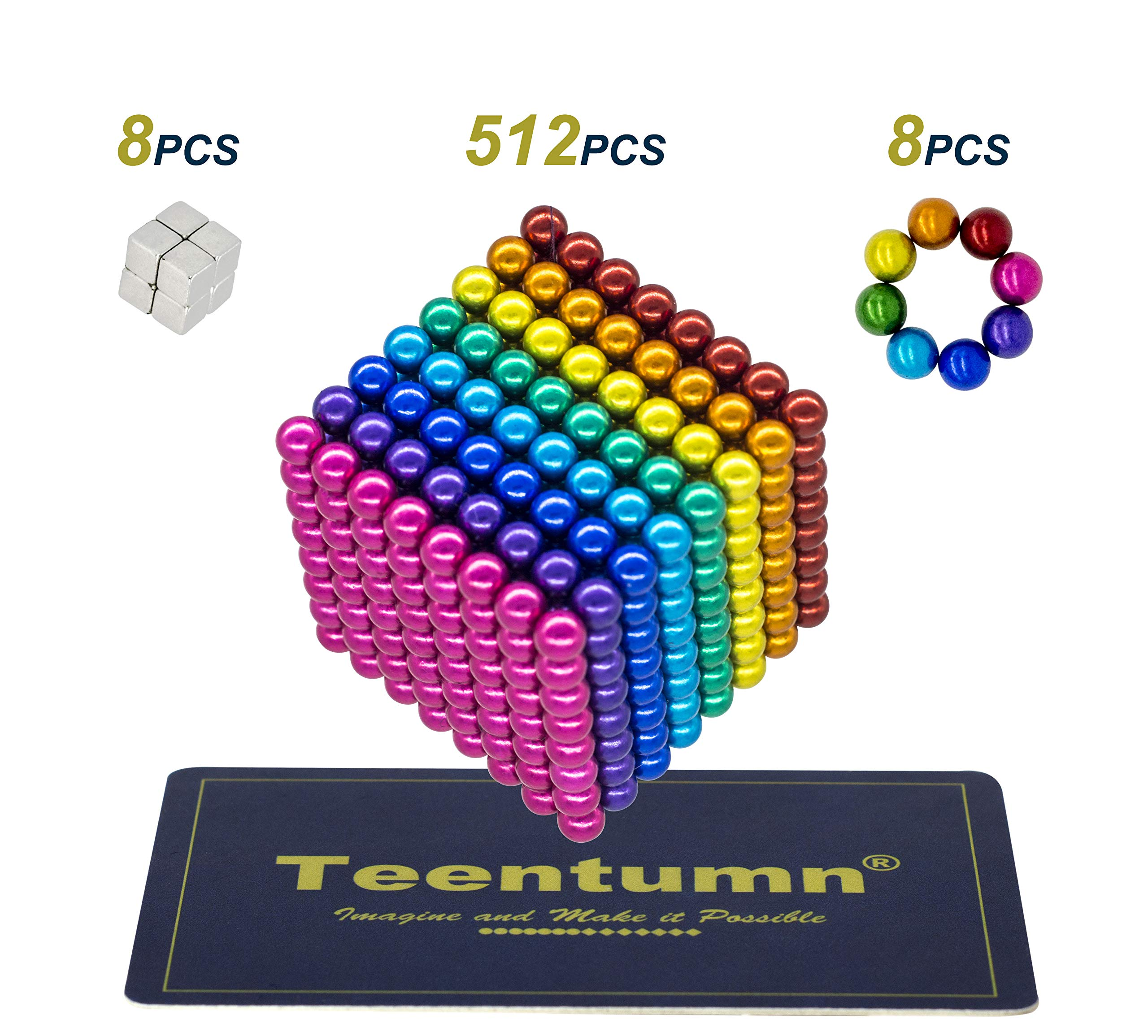 Teentumn 528 Pieces 5mm Sculpture Building Blocks Toys for Intelligence Learning -Office Toy & Stress Relief for Adults Rainbow Colorful