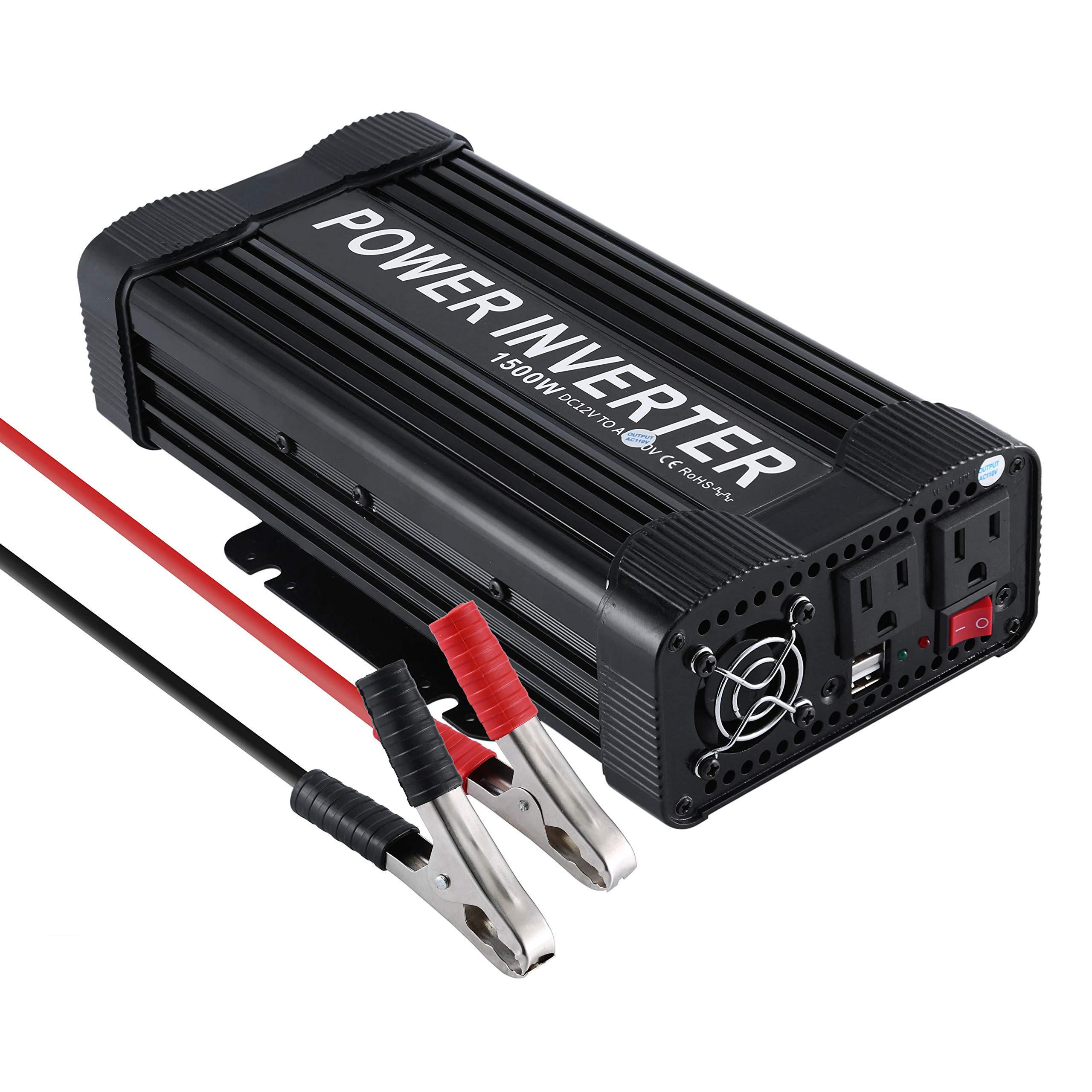 OHMOTOR 1500W Power Inverter DC 12V to 110V AC Modified Sine Wave Car Inverter,with Dual 2.1A USB Ports and US Sockets Suit for iPad,Phone,Tablet,Laptop (1500W) by OHMOTOR