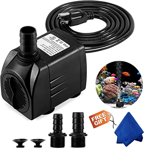 400GPH Submersible Water Pump Fountain Pump Fish Tank 3 Nozzles for Aquarium Backyard Fountain Water Pump Hydroponics Durable 25W Outdoor Fountain Water Pump with 6.5ft Power Cord Pond