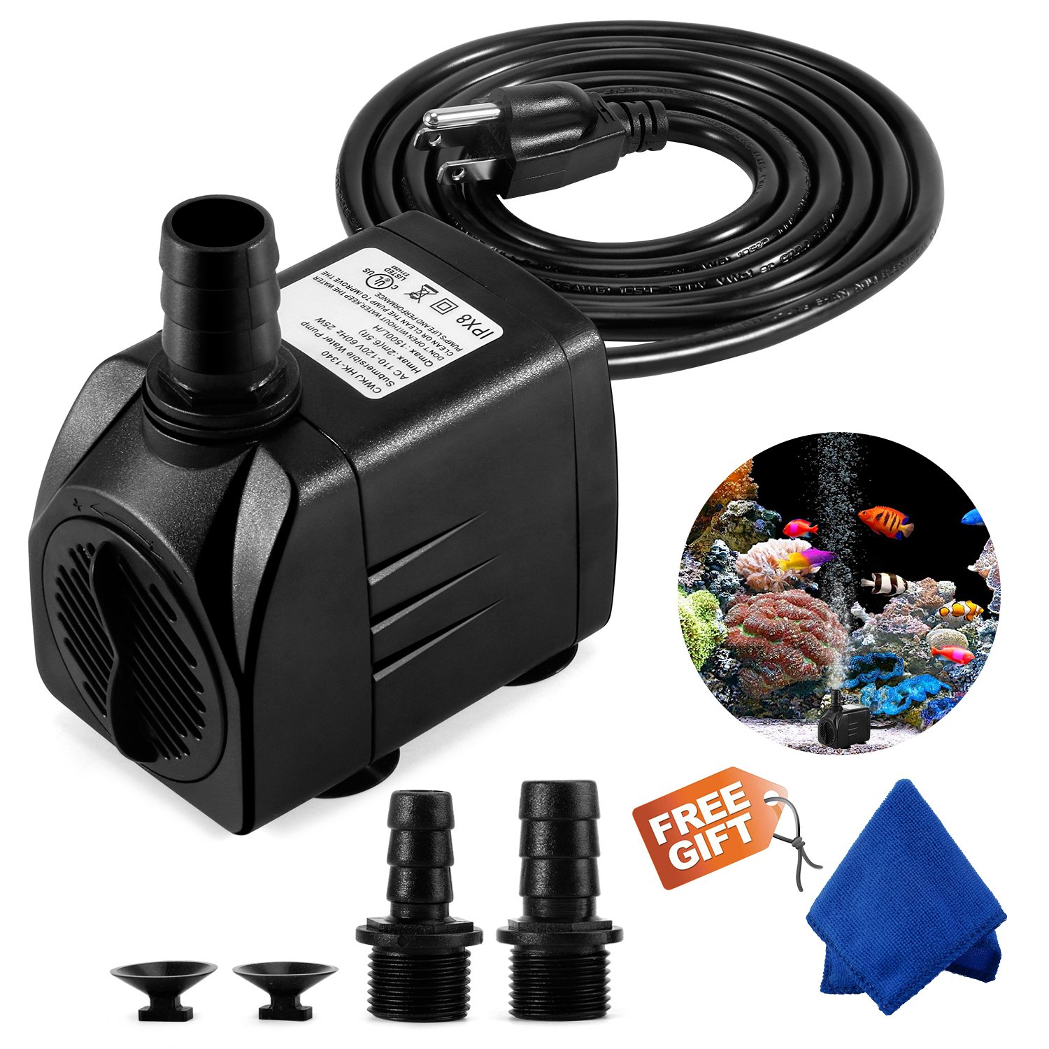 Fountain Pump, 400GPH Submersible Water Pump, Durable 25W Outdoor Fountain Water Pump with 6.5ft Power Cord, 3 Nozzles for Aquarium, Pond, Fish Tank, Water Pump Hydroponics, Backyard Fountain by CWKJ