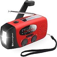 [Upgraded Version] RunningSnail Emergency Hand Crank Self Powered AM/FM NOAA Solar Weather Radio with LED Flashlight…