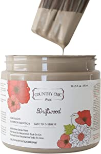 Chalk Style Paint - for Furniture, Home Decor, Crafts - Eco-Friendly - All-in-One - No Wax Needed (Driftwood [Brown], Pint (16 oz))