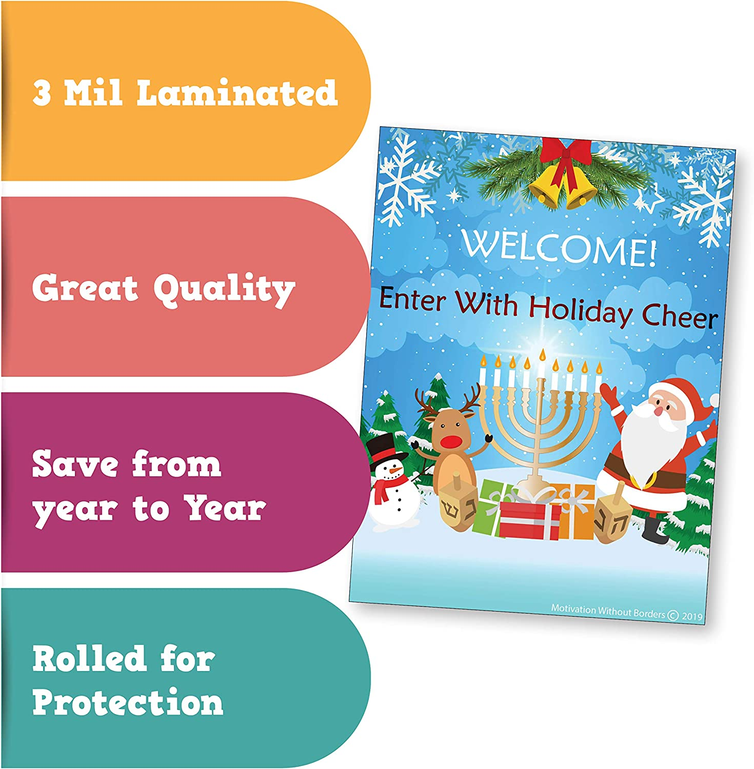 1 Poster Included Holiday 18x24 Laminated Christmas Door Decorations Christmas Bulletin Board Decorations Christmas Door Decorations -Christmas Classroom Decorations Hannukah