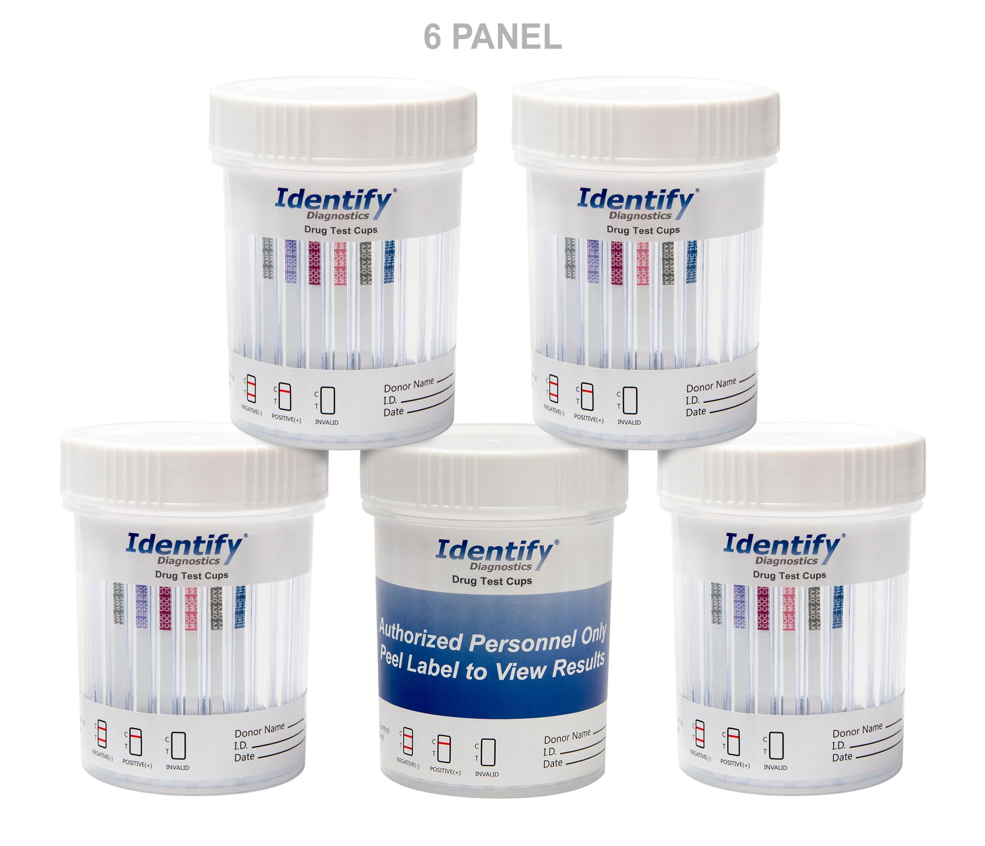 5 Pack Identify Diagnostics 6 Panel Drug Test Cup Testing Instantly for 6 Different Drugs: (THC), (OXY), (MOP), (COC), (BZO), (AMP) #ID-CP6