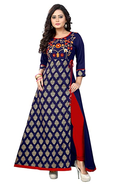 vaikunth fabrics Women's Rayon Embroidered Kurtis (VF-KU-96, Blue) Women's Kurtas & Kurtis at amazon