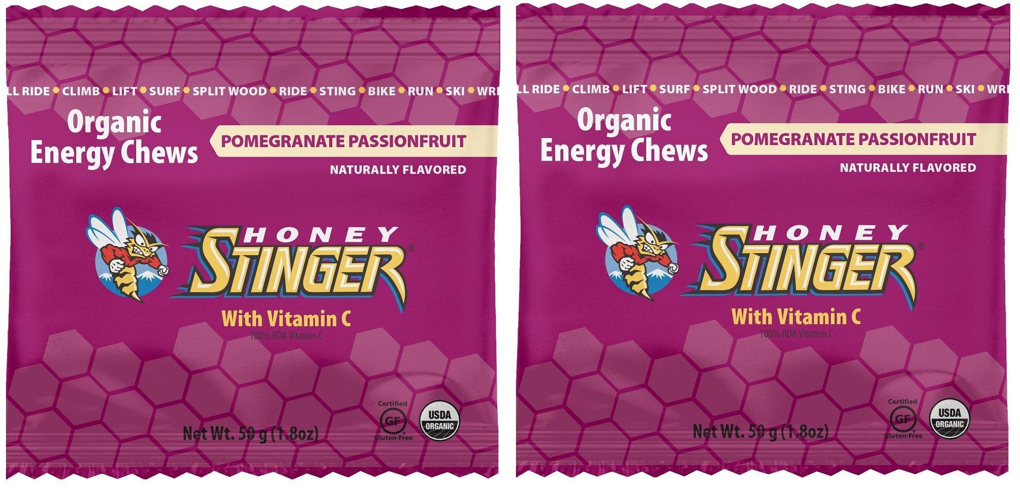 Honey Stinger Organic Energy Chews wddPBF, 2Pack (Pomegranate Passion Fruit)
