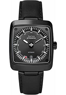 Zodiac Mens Astrographic Swiss Automatic Stainless Steel and Leather Casual Watch, Color: