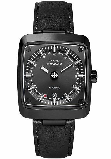 Zodiac ZO6605 - Reloj de pulsera para hombre (acero inoxidable y cuero, diseño de astronomía suiza), color negro: Amazon.es: Relojes