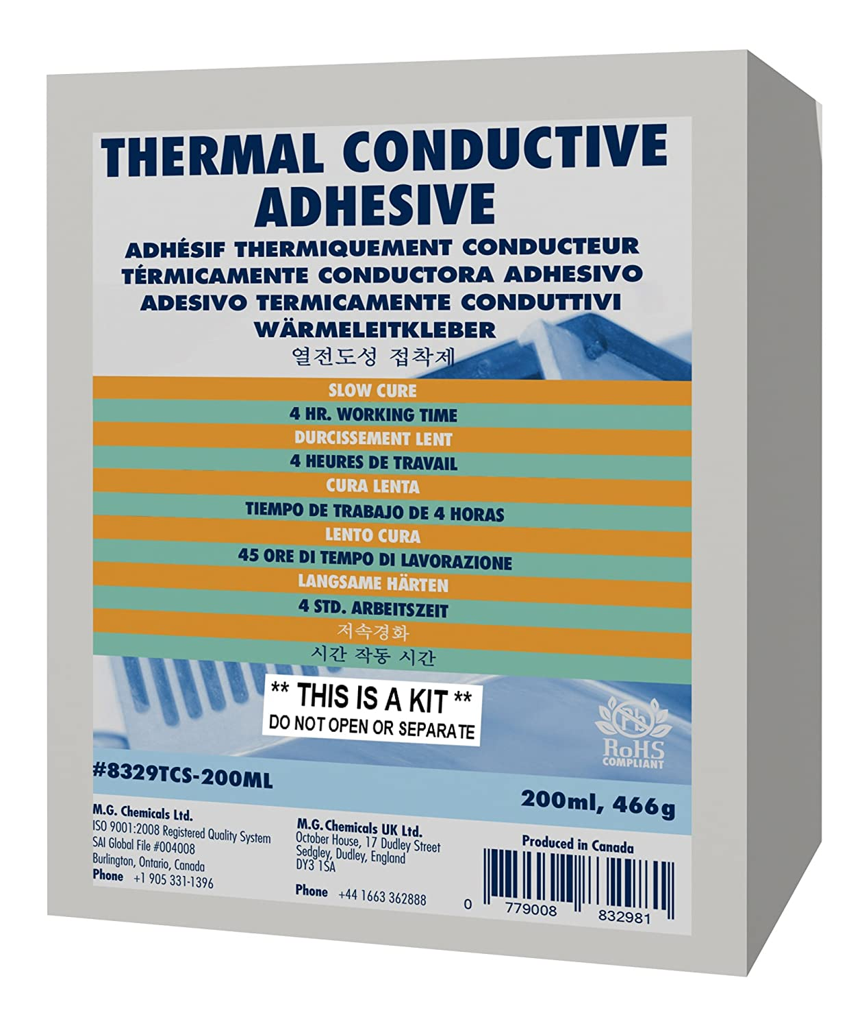 MG Chemicals 8329TCS Thermal Conductive Adhesive, Slow Cure, 15 g, 2 ...
