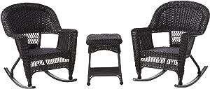 Jeco 3 Piece Rocker Wicker Chair Set, Black
