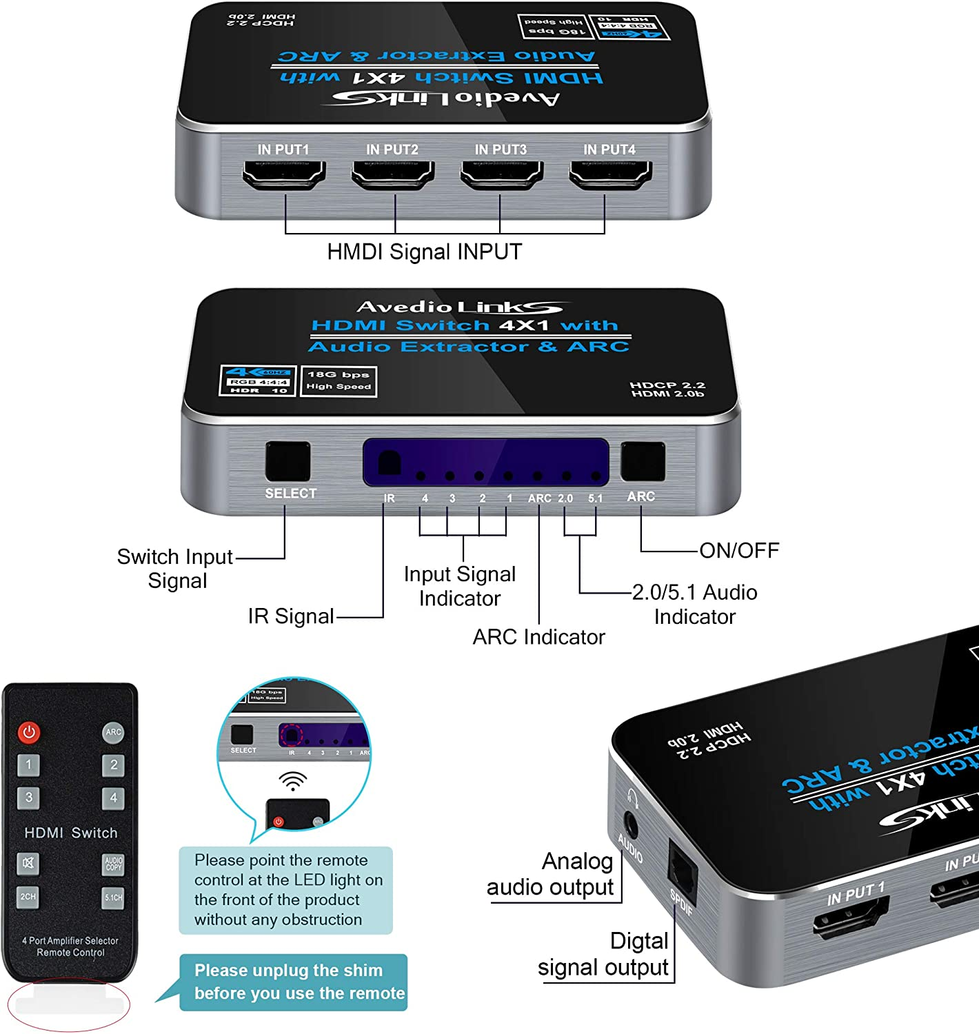 HDMI Switch 4 in 1 Out with Remote avedio links 4K@60Hz 4 Ports HDMI Switcher Box with Optical /& 3.5mm Stereo Audio Out Gray 3D Support ARC,HDCP2.2 HDMI2.0b Switch 4x1 with Audio Extractor