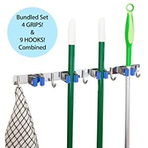 Hooks N Holders Broom Holder Wall Mount Home Organizers and Storage. Kitchen Organization and Storage, Mop and Laundry Room Organizer, Mounted Garden Tool Hanger, Garage Organizer Rack, Wall Hangers