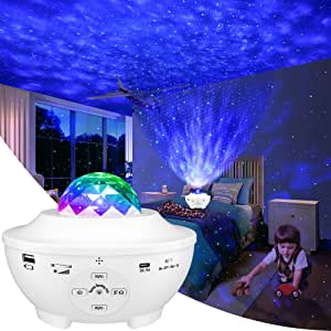 Star Projector, 3 in 1 Ocean Wave Projector Star Sky Night Light w/LED Nebula Cloud with Bluetooth Music Speaker & Timer Function for Christmas Gift/Kids Bedroom/Game Rooms/Home Theatre/Room Decor/Night Light Ambiance(White)