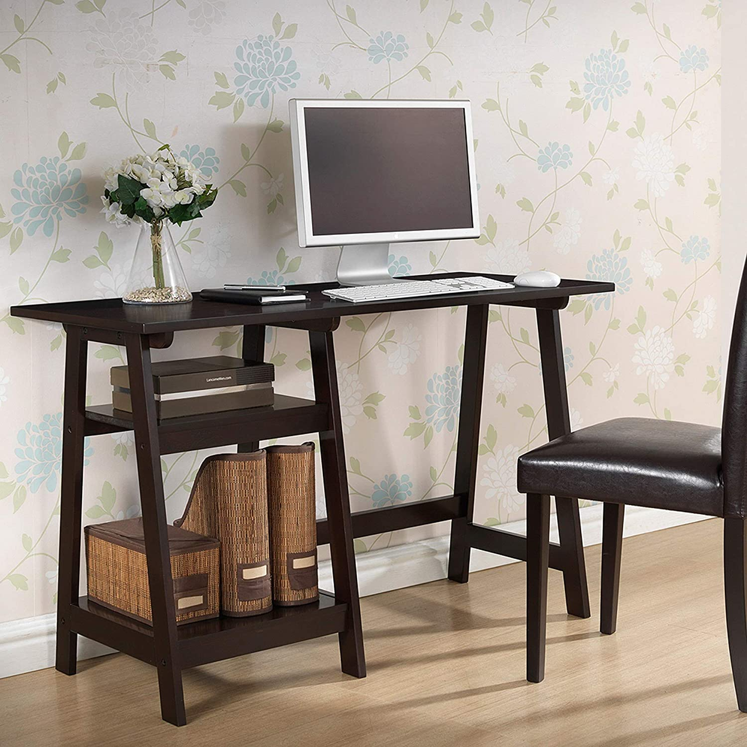 Dark brown wood modern desk with sawhorse legs small size compact made from engineered wood rubberwood veneers shelving work station bundle with our