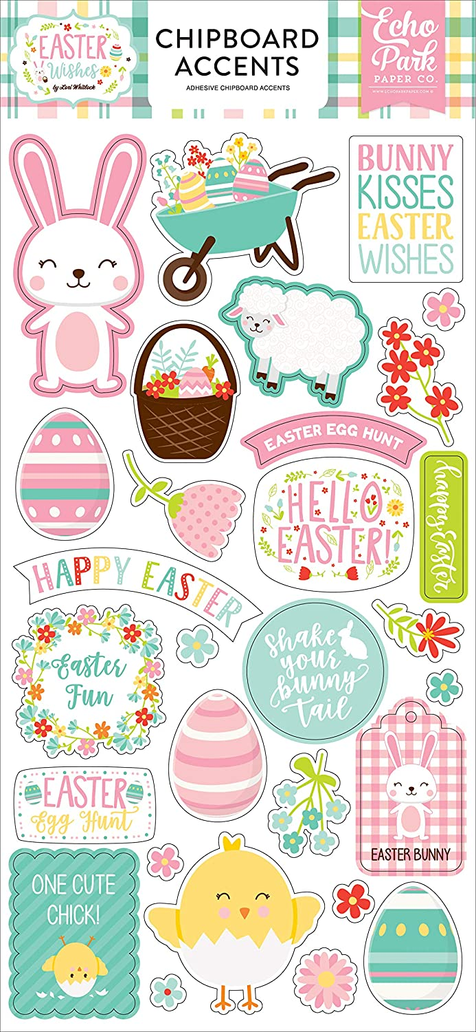 Orange Teal Brown Yellow Green Pink Echo Park Paper Company Easter Wishes Collection Kit Paper
