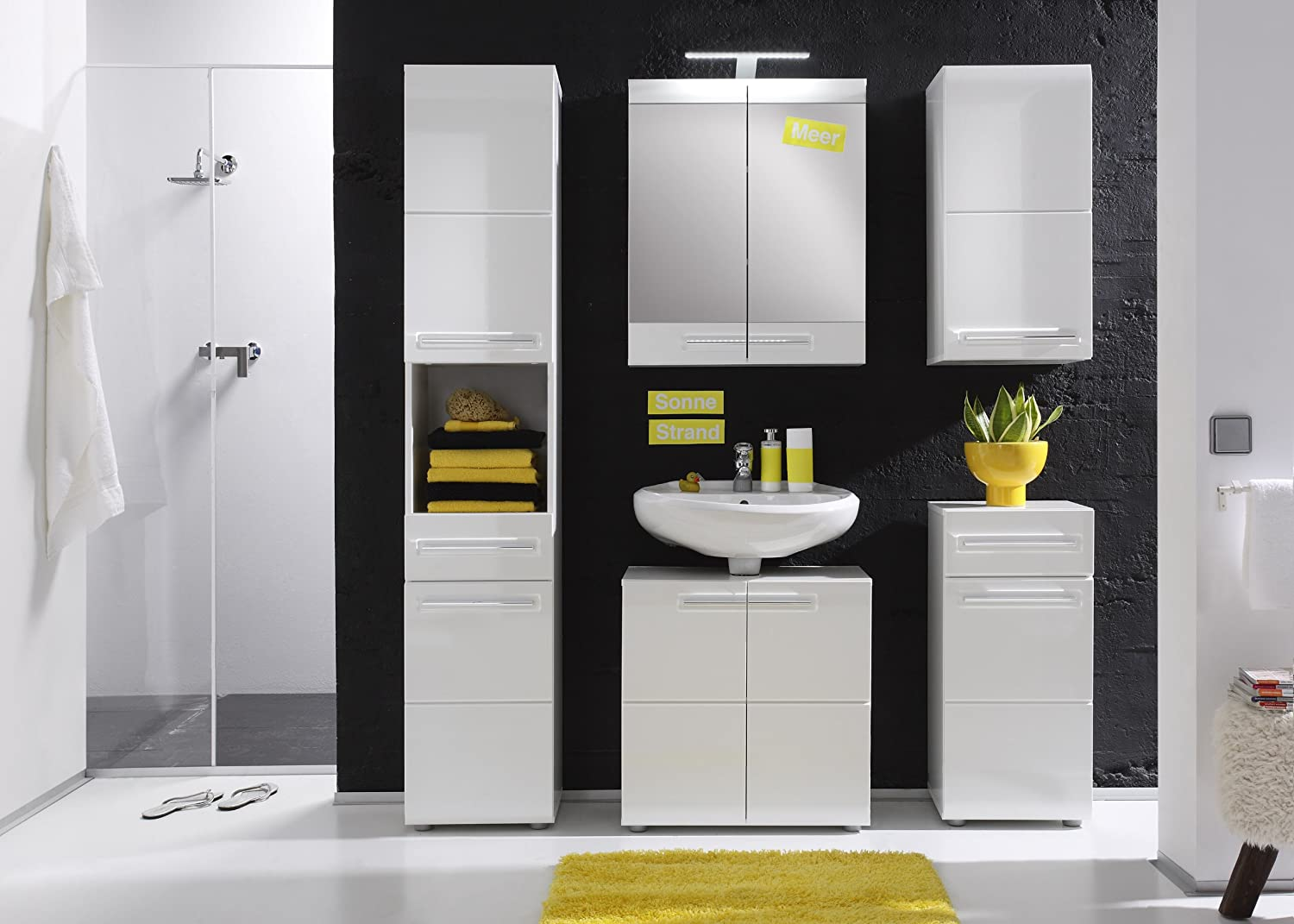 Furnline Bora High Gloss Bathroom Furniture Tall Cabinet, White 1327-101-01