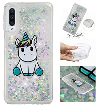 HopMore Funda Silicona para Samsung Galaxy A50 Glitter Liquido 3D Brillante Purpurina Transparente Dibujo Carcasa Resistente Caso Protección para ...