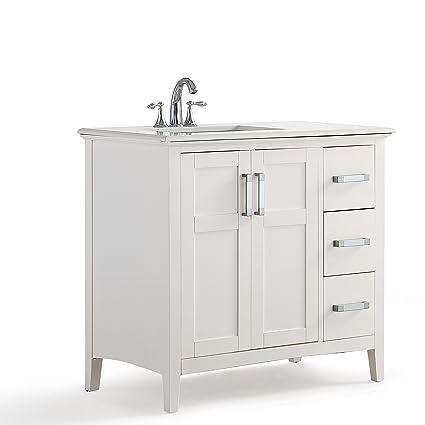 WYNDENHALL Windham Grey 36-inch Offset Bath Vanity with White Quartz Marble  Top