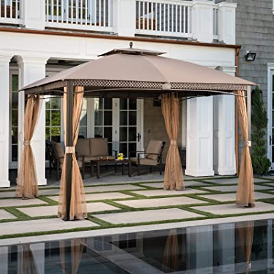 Hanover Aster Aluminum and Steel Gazebo with Mosquito Netting, (9.8' D x 11.8' W x 9.7' H), ASTERGAZ-TAN Outdoor Furniture : Garden & Outdoor