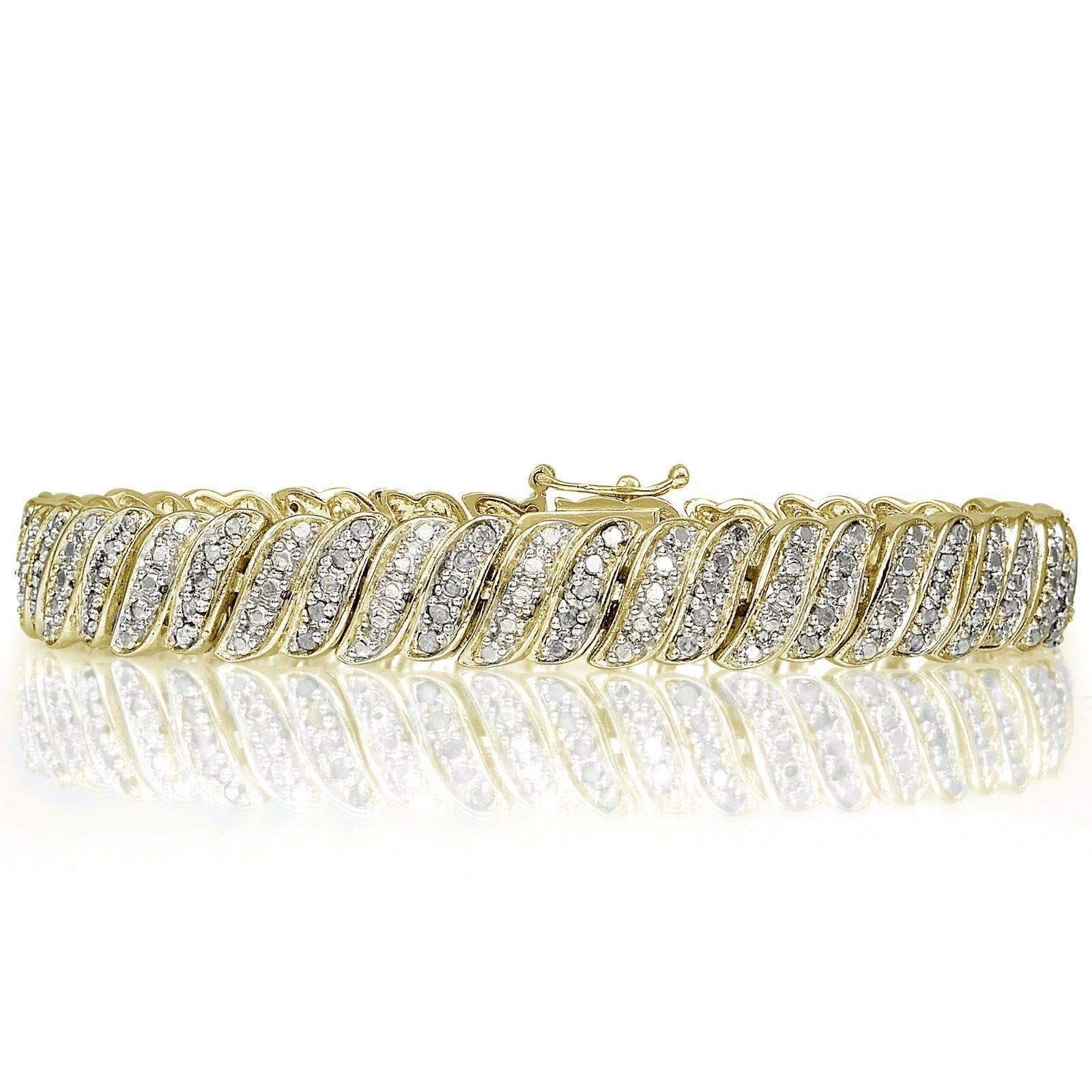 18K Yellow Gold Finish S-Link 1.0CTW Diamond Tennis Bracelet for Women - 8 Inches