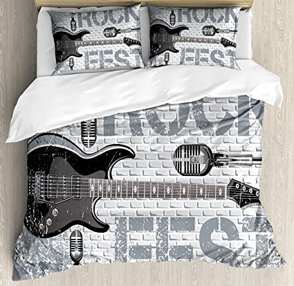 Amazoncom Rock Music Bedding Set King Grunge Color Splashed Brick