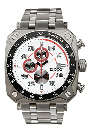 Zippo 45020 - Reloj para hombres, correa de acero inoxidable color plateado: Amazon.es: Relojes