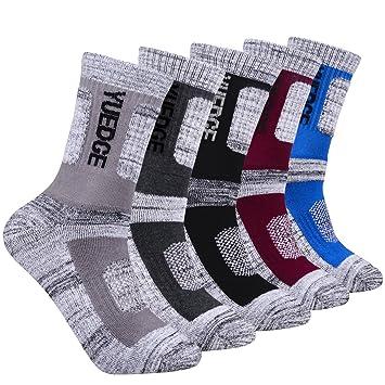 YUEDGE - Calcetines de Senderismo para Hombre, 5 Pares, para Deportes al Aire Libre, Color Gris, tamaño X-Large: Amazon.es: Deportes y aire libre
