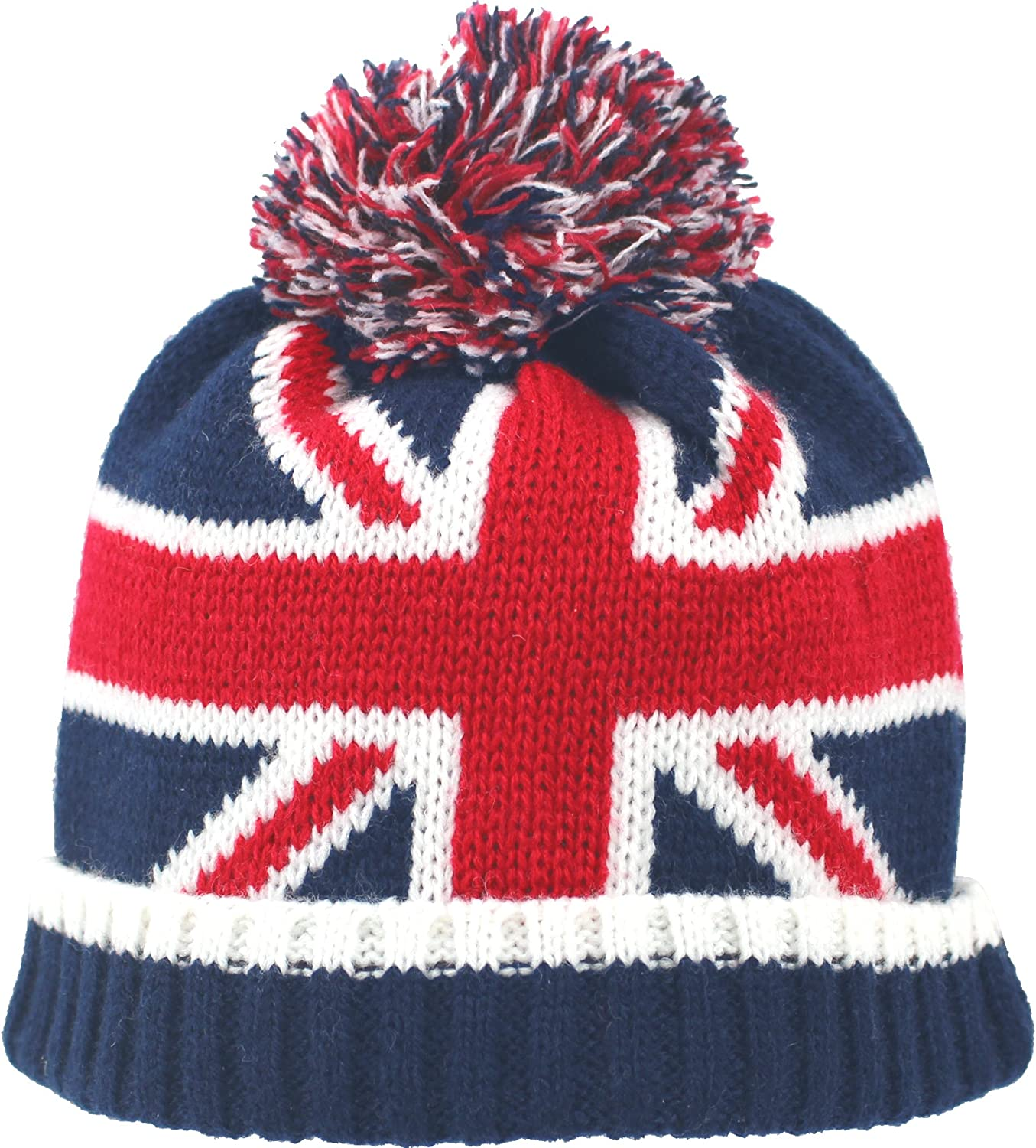 TeddyTs Baby Boys Knitted USA /& Great Britain Fluffy Bobble Hat
