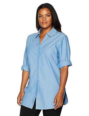 f90987b6287 Foxcroft Women s Plus Size Vera Solid Non Iron Tunic at Amazon Women s  Clothing store