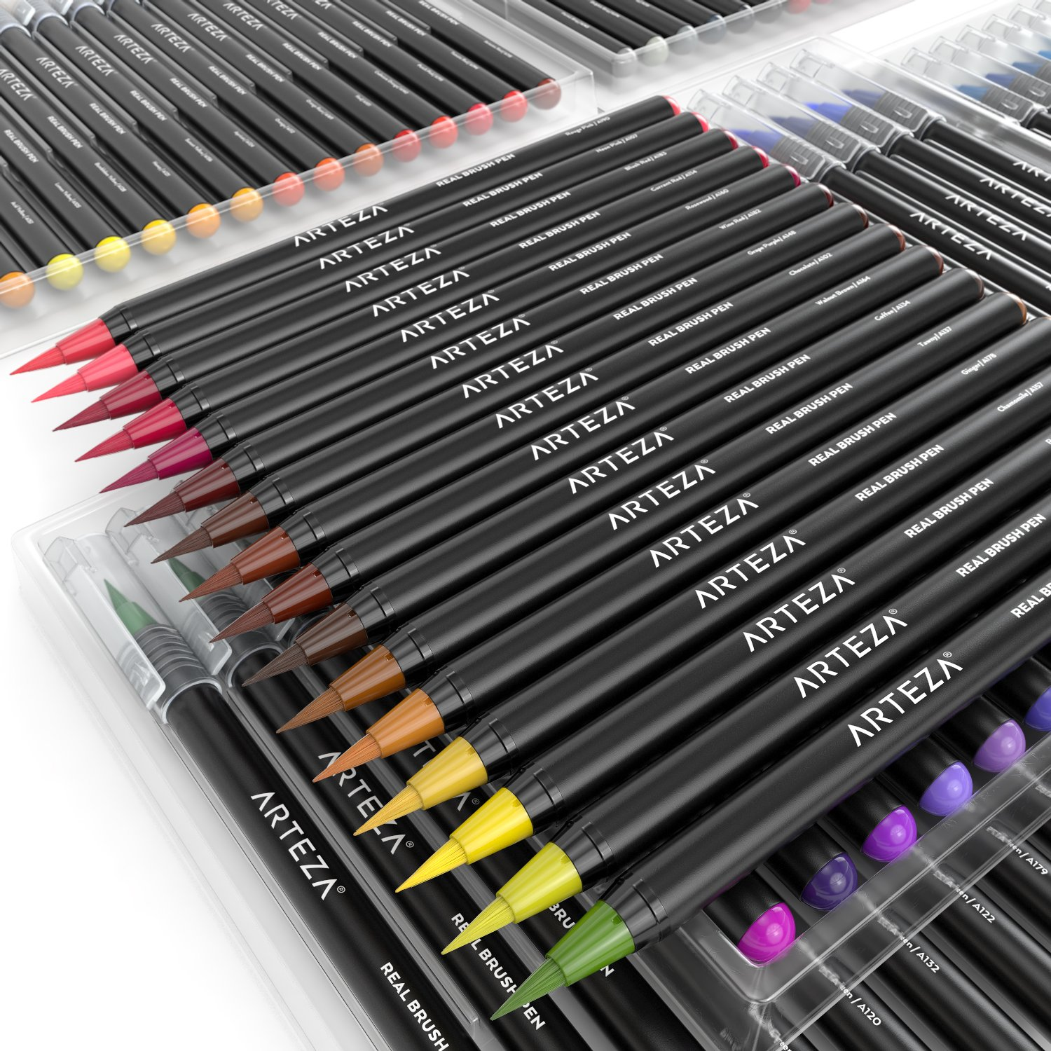 Arteza Real Brush Pens, 96 Paint Markers with Flexible ...