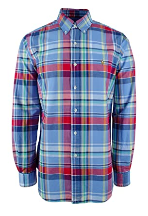 Polo Ralph Lauren Men's Plaid Oxford Long Sleeve Classic Fit Shirt-RB-S at  Amazon Men's Clothing store: