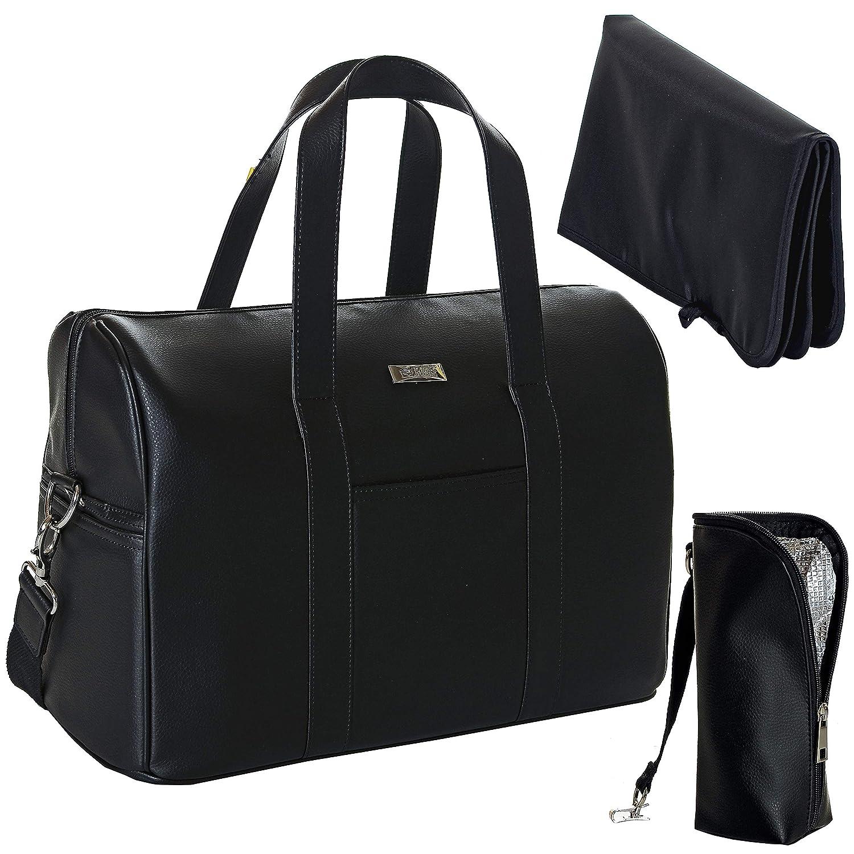 Große Wickeltasche | Faux Kunst-Leder Handtasche Wasserdicht; schwarz LCP Kids Jade