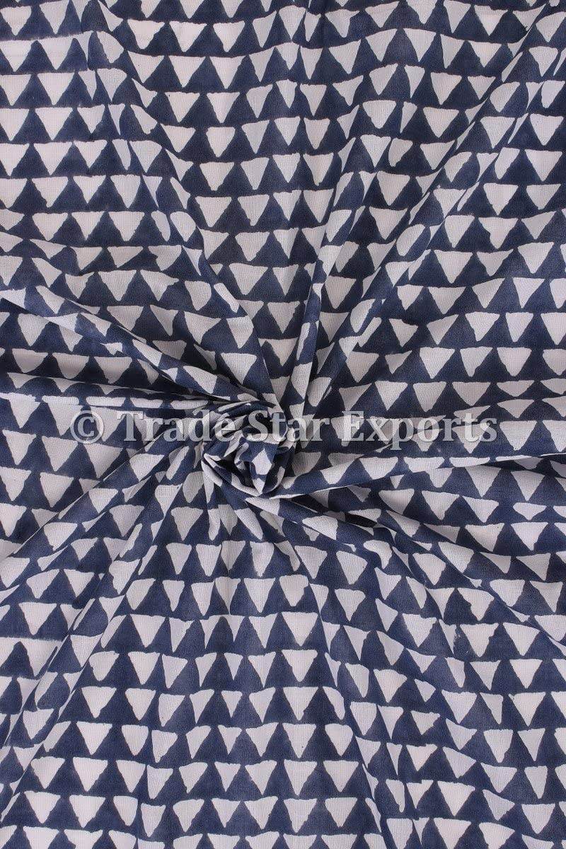 Trade Star Exports 3 Yard Indigo Handmade Block Print Fabric for Dressmaking, Cotton Voile Indian Upholestry Fabric by The Yard (Pattern 13)