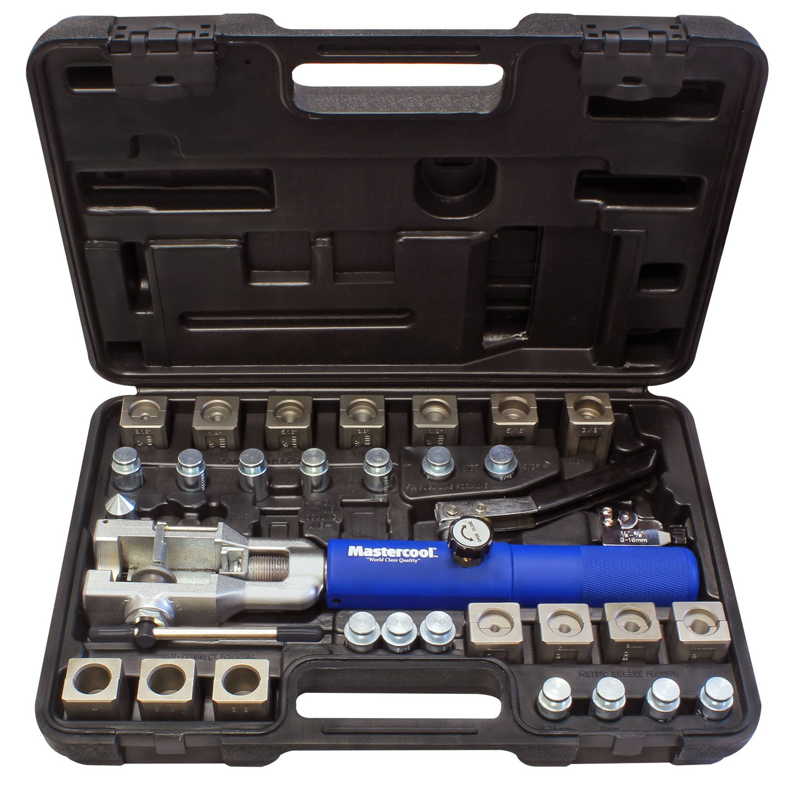 MASTERCOOL 72475-PRC Blue and Silver Universal Hydraulic Flaring Tool Set with Tube Cutter