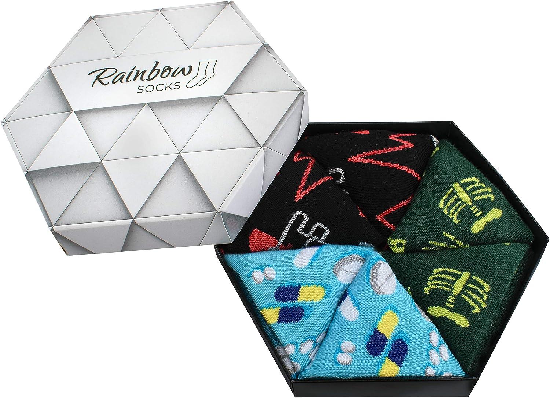 Rainbow Socks - Hombre Mujer Calcetines Médico Graciosos - 3 Pares