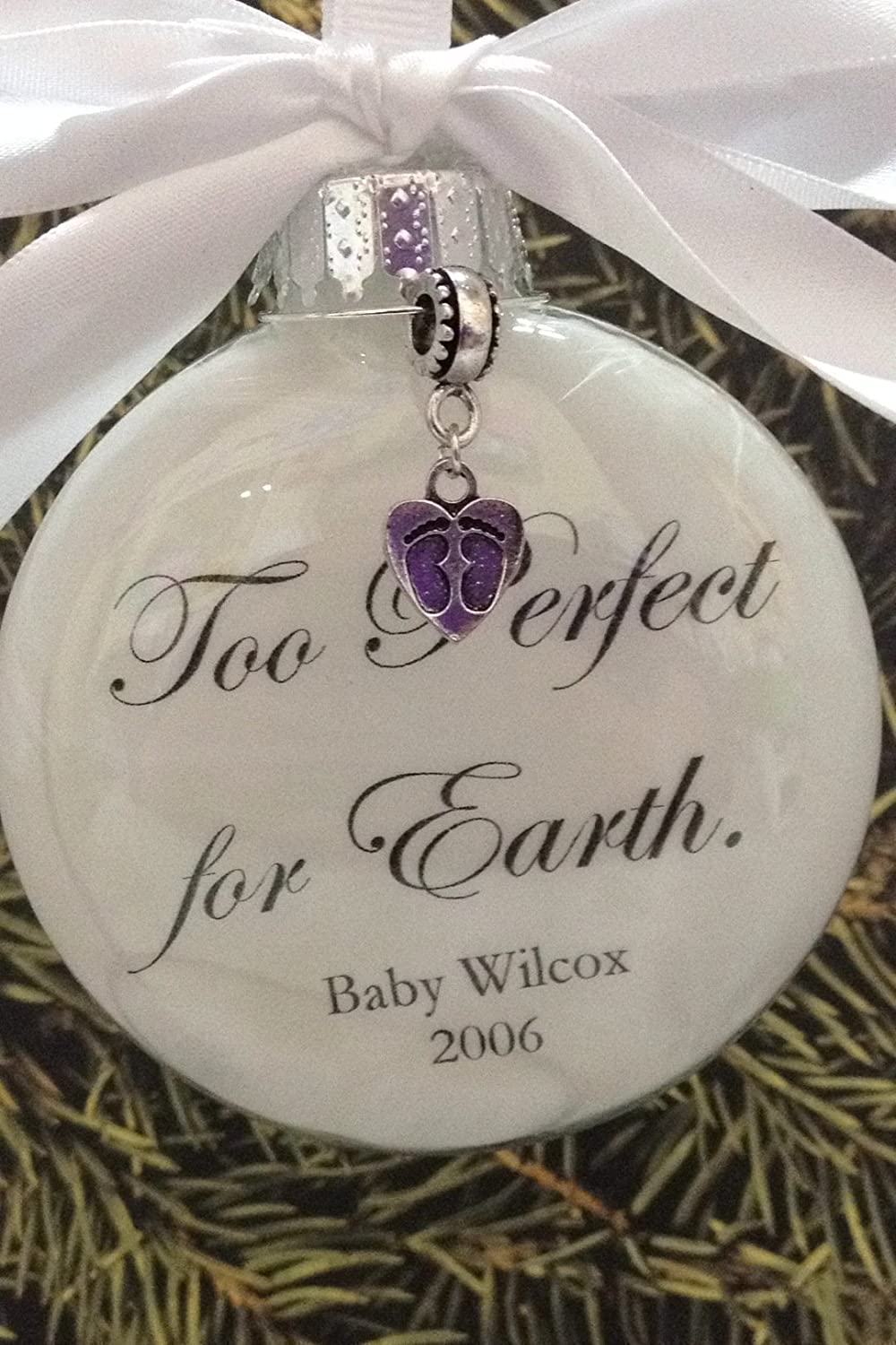Baby loss ornaments - Amazon Com Miscarriage Baby Memorial Ornament Too Perfect For Earth Footprint Charm In Memory Infant Loss Handmade